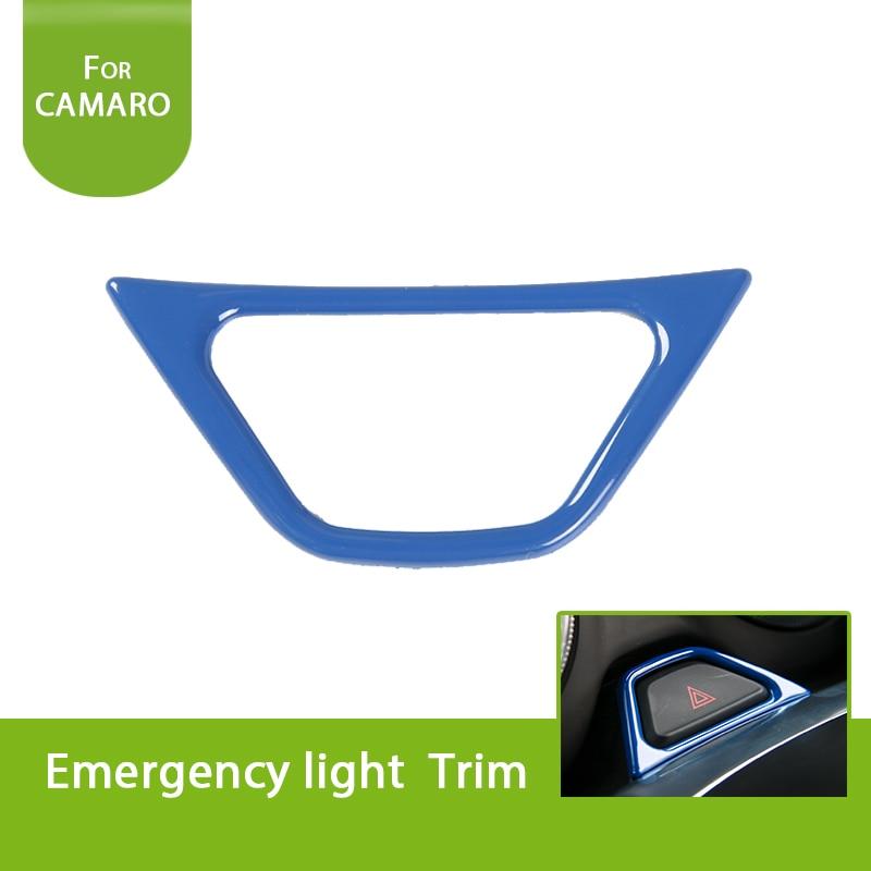 1 Stks Rood/blauw/chroom/zilver Auto Noodverlichting Lamp Knop Frame Trim Cover Ring Bezel Voor Chevrolet Camaro 2017 +