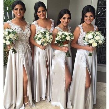Applique Party Dresses Scoop Sleeveless A Line Floor Length  High Slit Satin Long Bridesmaid Dress