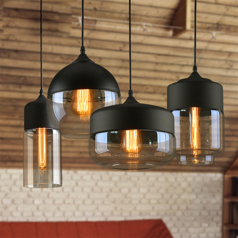 Nordic Modern Glass Pendant Lamp Fixtures E27 LED White Black Color Pendant Lights For Kitchen Loft Hanging Living Room Bedroom