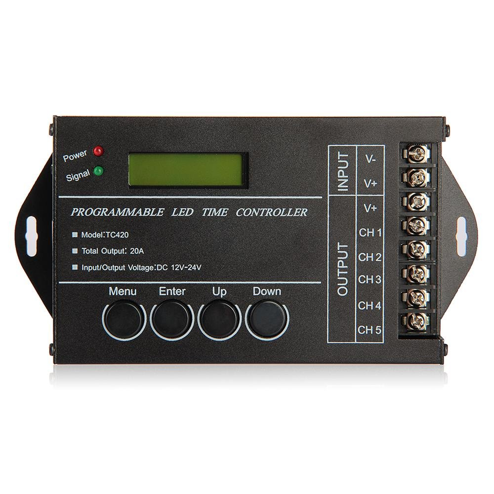 YOC 20A Programmable Controller Timer DC12-24V LED RGB / Single-color streaks dmx512 digital display 24ch dmx address controller dc5v 24v each ch max 3a 8 groups rgb controller