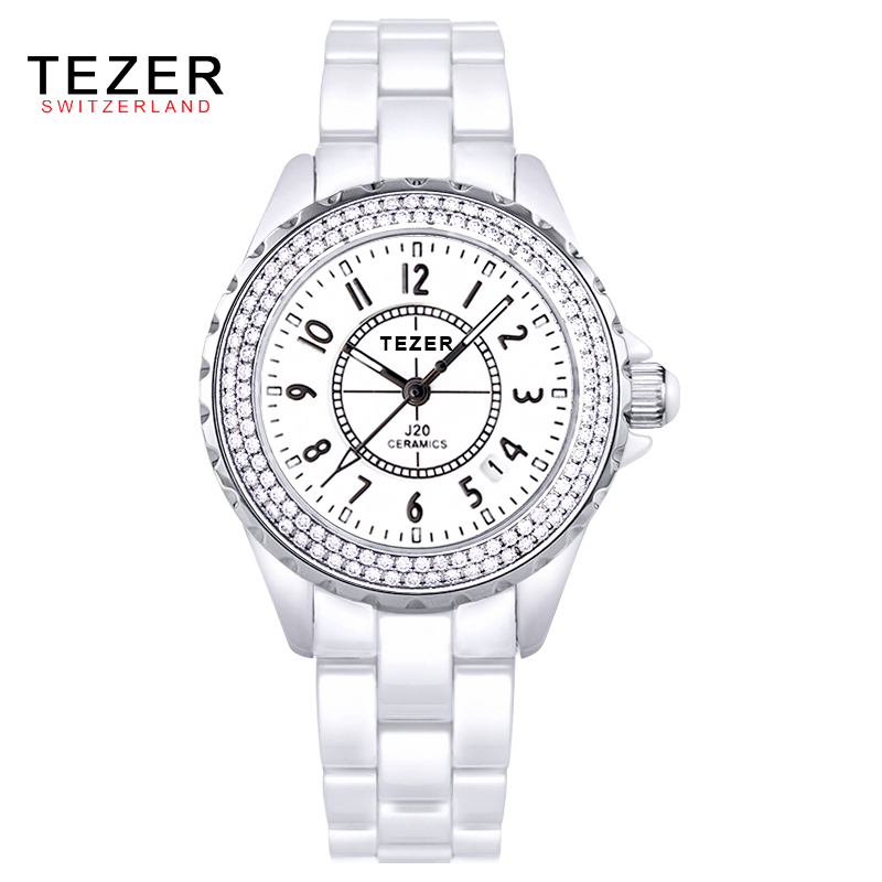 2016 Branded TEZER Watches Women Gold Luxury Waterproof Simulated-Ceramics Band Round Analog Quartz Wristwatch With Logo AB1818