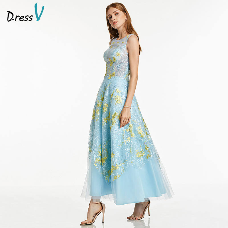 Dressv blue a line   prom     dress   cheap elegant sample scoop neck sleeveless ankle length appliques wedding formal party   prom     dress