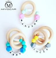 MIYOCAR Any Name Handmade Silicone Teething Ring No BPA Food Grade Safe Silicone Teether Baby Teething