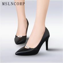 Plus Size 34-43 New Fashion Woman Sexy Pumps black white Office Career Women Shoes Pointed Toe Thin High Heels Dress Party Shoes plus size 34 46 fashion high heels shoes women pumps square heel pointed toe dress pumps shallow party stilettos ladies footwear