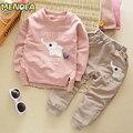 Menoea 2017 Outono Moda Estilo Dos Desenhos Animados Do Bebê Conjunto Roupa Menino Elefante T-Shirt de impressão + Calças 2 Pcs Terno Para Conjuntos de Roupas Crianças
