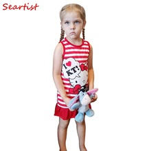 цена на Seartist Girls Hello Kitty Dress Baby Girl Clothes Summer Sleeveless Dresses Girls Dress Clothes Striped Red KT Cat 2019 New 90C