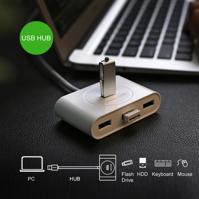 Super Velocidade de 4 Portas HUB USB 3.0 OTG HUB USB Portátil splitter com lâmpada led novo para apple macbook air laptop pc Tablet