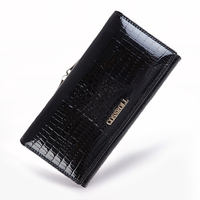 Genuine Leather Vintage Quality Cowhide Purse Women Long Wallets Brand Designer Zipper Hasp Clutch Wallet Female