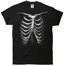 Short Sleeved Print Letters T Shirt Glow In The Dark Rib Cage Skeleton T Shirt 2017 Brand Clothes Slim Fit Printing(China)