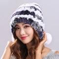 Women Genuine Knitted Rex Rabbit Fur Hats Natural Stripe Rex Rabbit Fur Caps lady winter warm Headwear free shipping#H9008