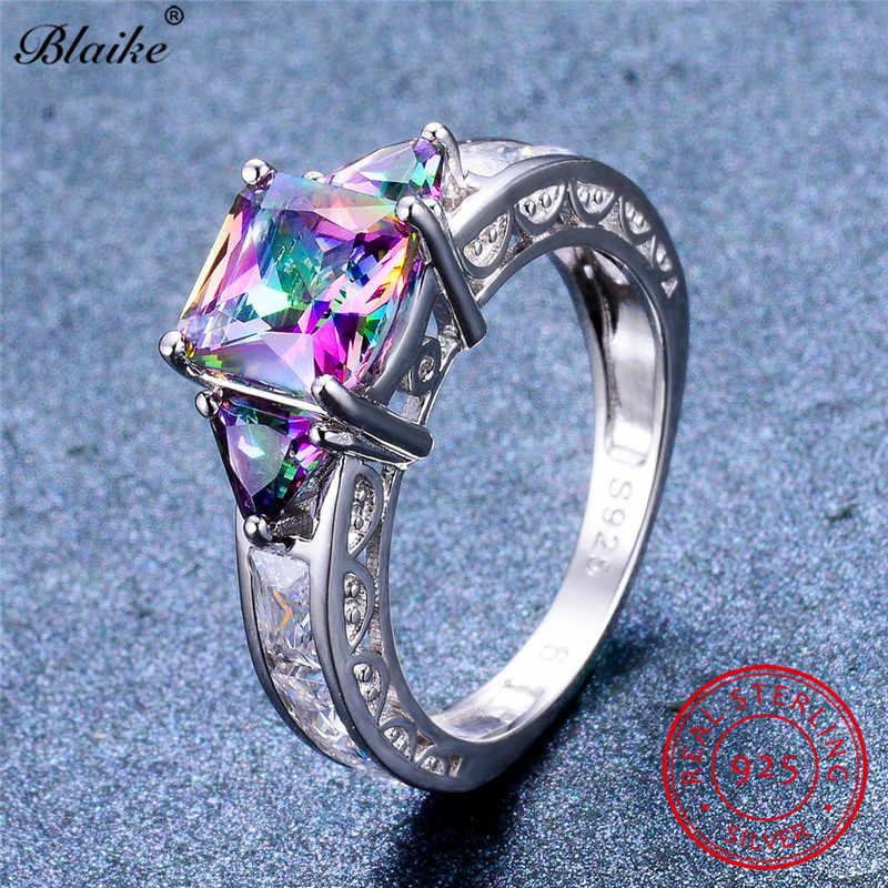 Blaike 100%จริง925เงินสเตอร์ลิงไฟMystic Topazแหวนสำหรับผู้หญิงผู้ชายตารางสายรุ้งเพทายแหวนเครื่องประดับหินของขวัญ