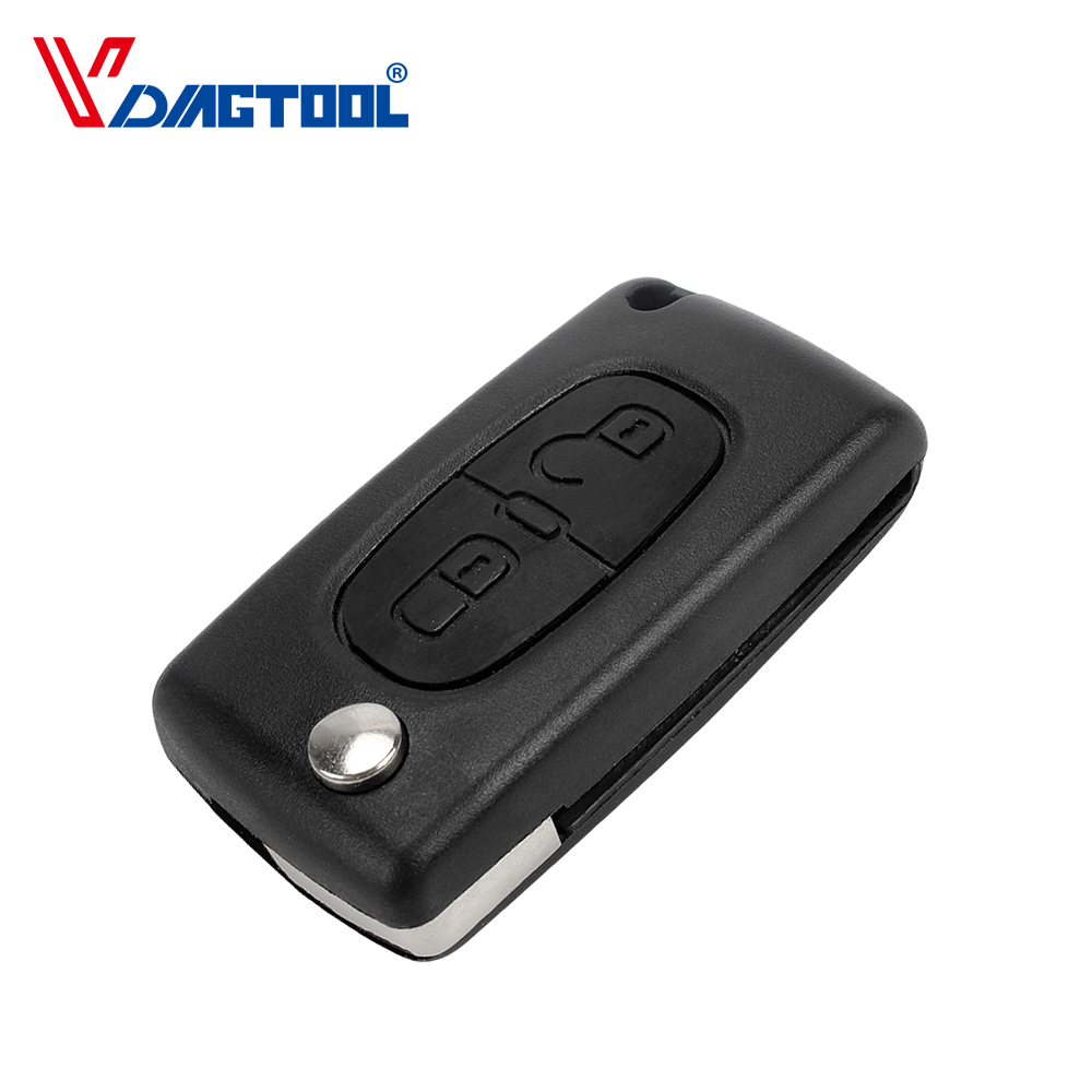 VDIAGTOOL Flip Folding 2 Buttons 307 Remote Key Shell For Peugeot Car Key Case No Battery Place Without Groove Blade(CE0523)