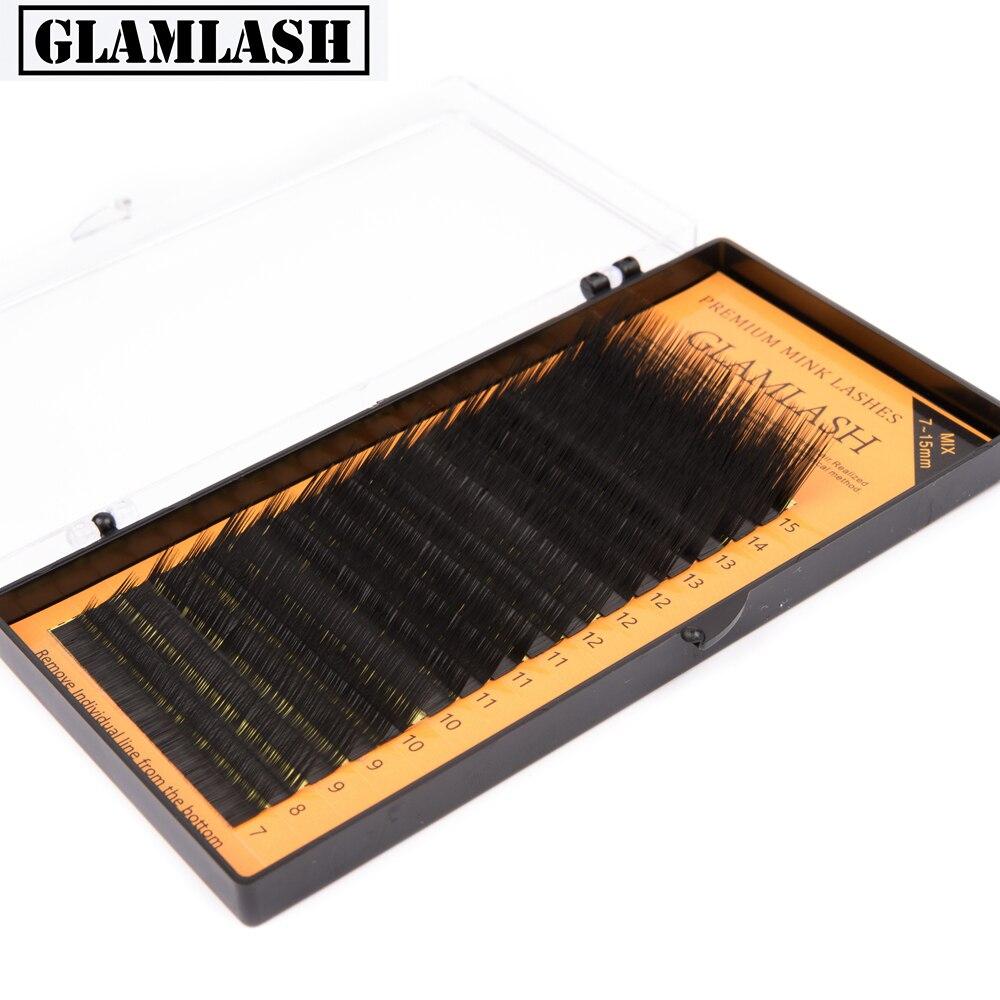 GLAMLASH 16rows/case 7~15mm Mix L Lash,L Eyelash,L Curl Eyelash Extension Individual Soft Lashes