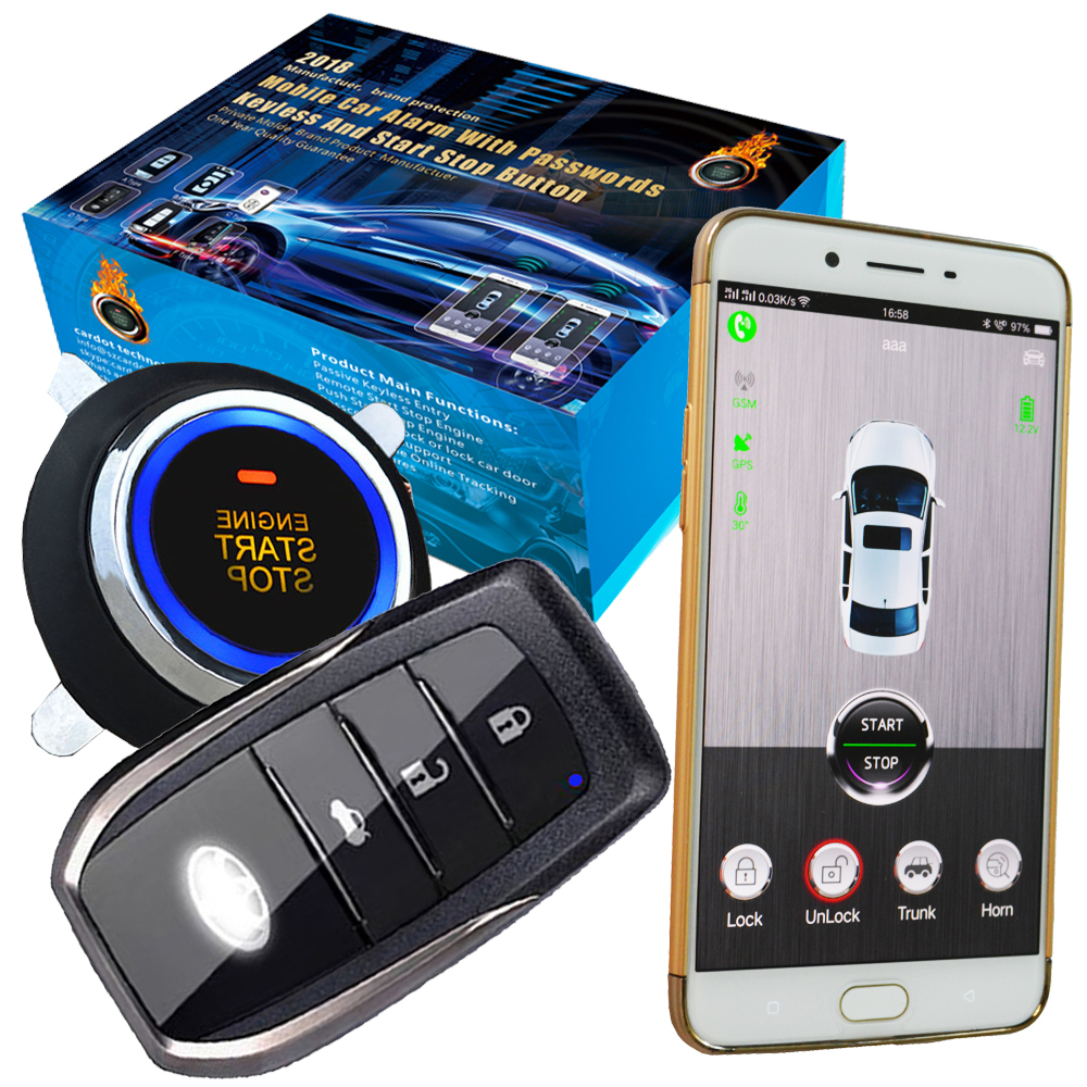 Bouton d'arrêt de démarrage d'allumage du moteur de voiture verrouillage central sans clé ou déverrouillage de la porte de voiture surveillance vocale de voiture
