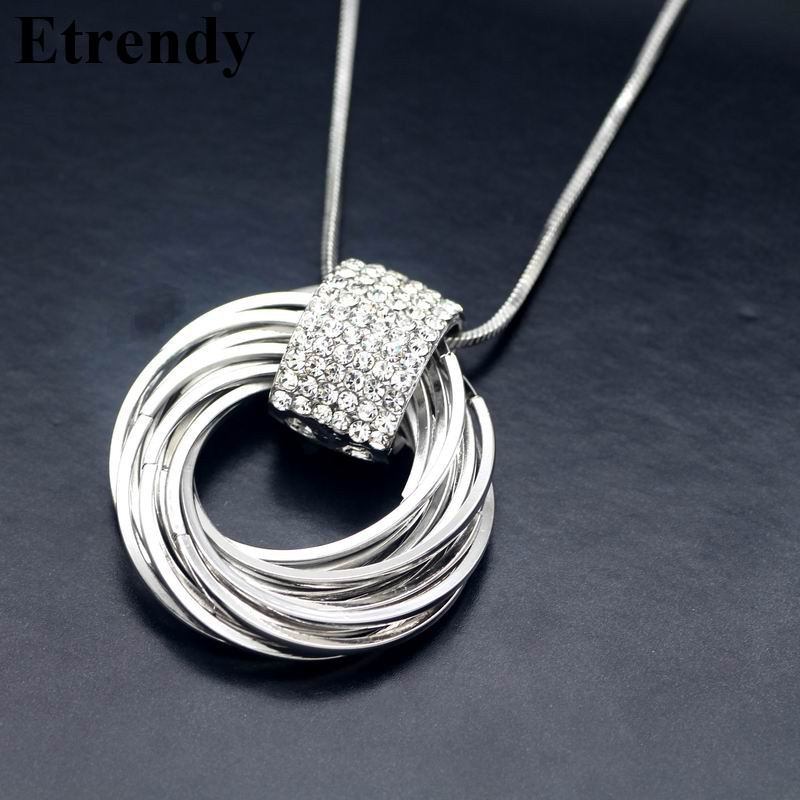 Rhinestone Metal Circles Long Necklace s