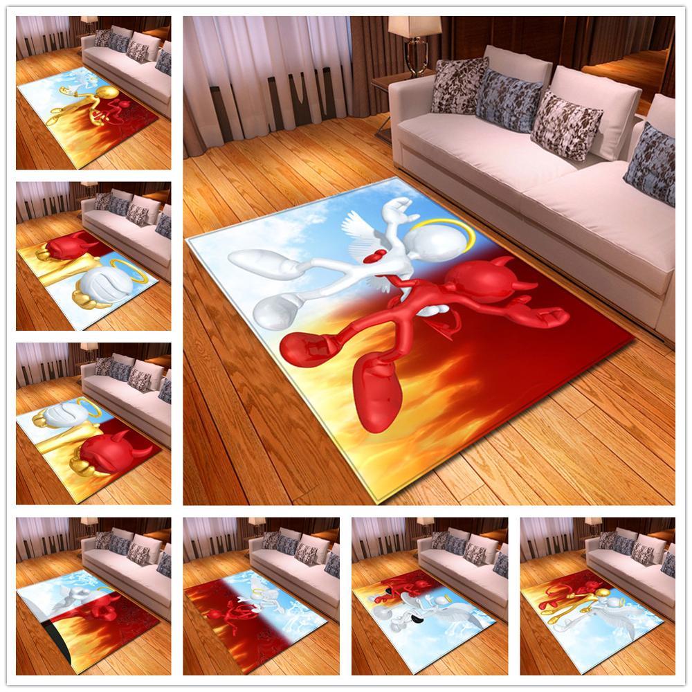 Nordic 3D Angel/devil Pattern Printed Carpets Soft Flannel Hallway Carpets for Living Room Bedroom Area Rug Tea Table Floor Mats(China)