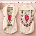 Новый 2016 ретро ручной женская вязаная жилеты выдалбливают палантин кардиган женский рукавов жилет топы женской одежды