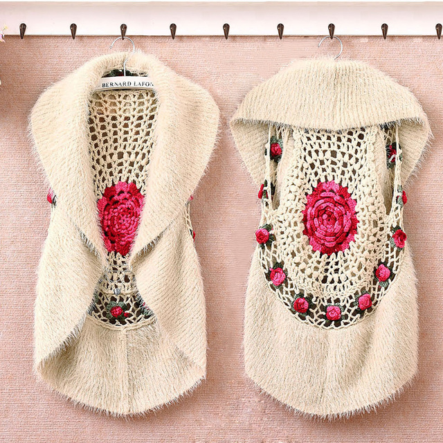 New 2016 Retro Handmade Women's Knitted Vests Ladies Hollow Out Tippet Cardigan Female Sleeveless Waistcoat Tops Woman Clothing