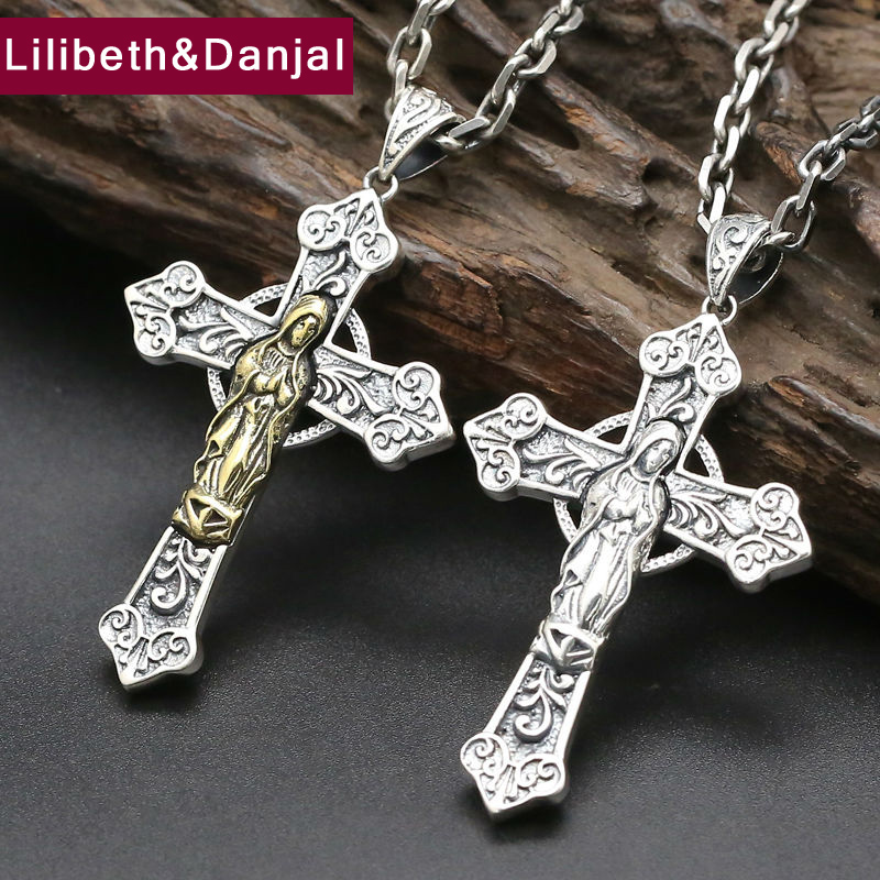Cross Pendant 100 Real 925 Sterling Silver Virgin Mary Punk Vintage Chain Necklace Pendant Men Jewelry
