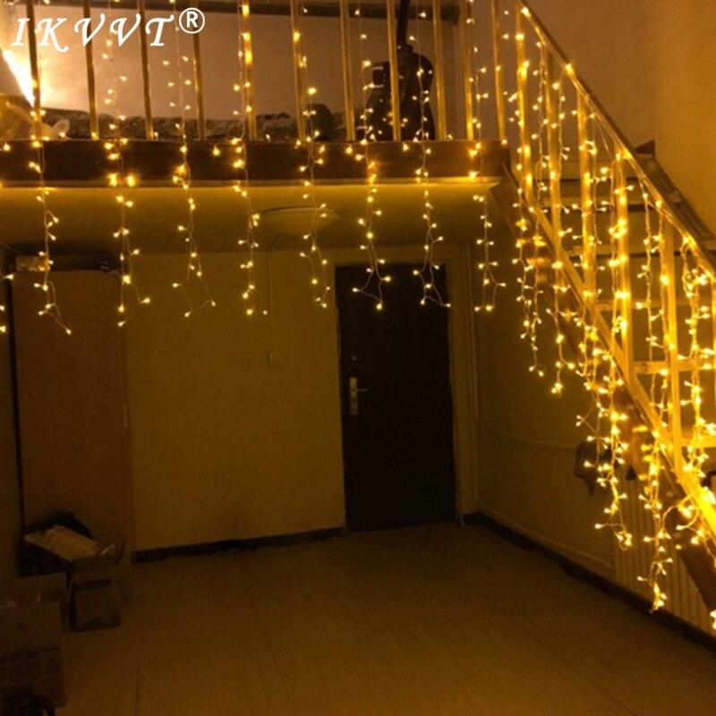 все цены на IKVVT 3.5M droop 0.6M 0.5M 0.4M 96leds Led Curtain Icicle String Lights Wedding Party Led Fairy Light for Christmas Decoration онлайн