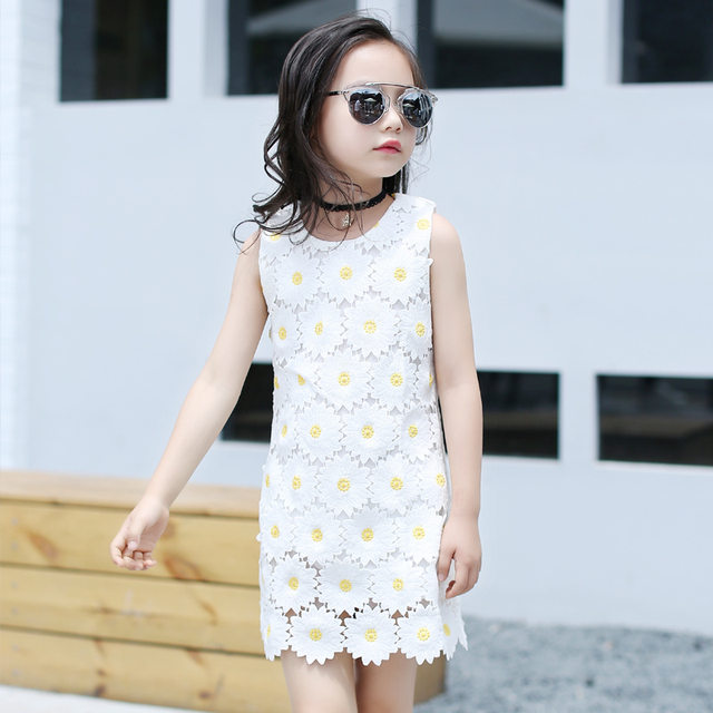 3d0baeb9dabe 4 15y Baby Girl Sun Flower Summer Dresses 2017 Dress For Teenagers ...