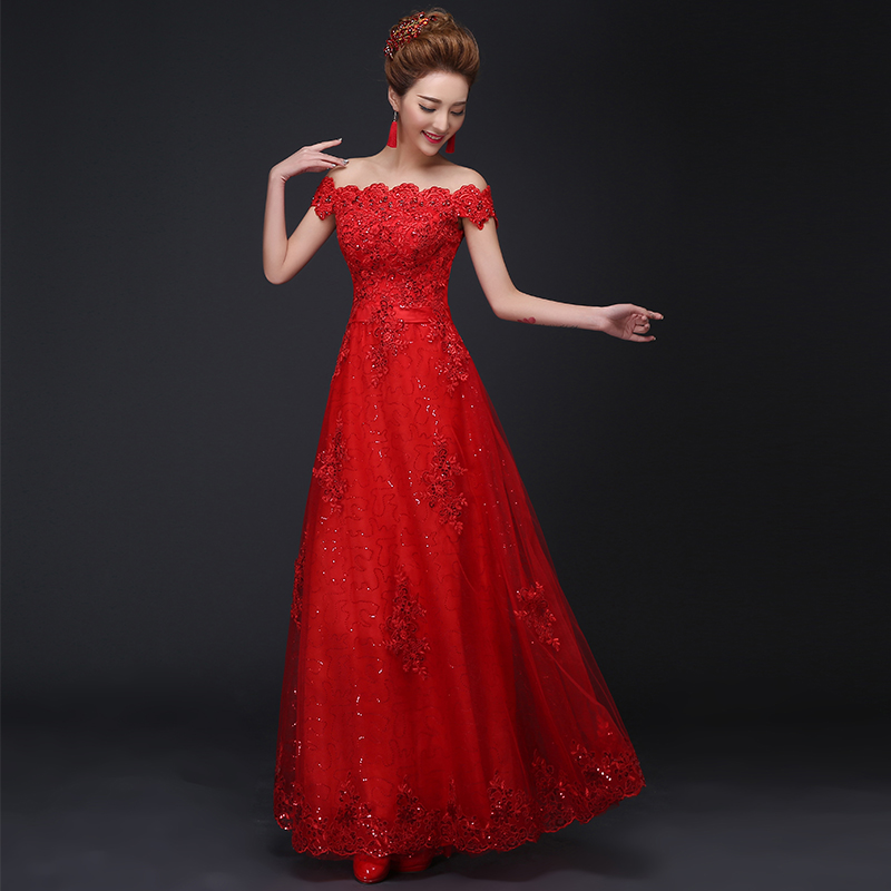 New Red Evening Dresses with Appliques Elegant Off the Shoulder Bride Gown Ball Prom Party Homecoming/Graduation Formal Dress