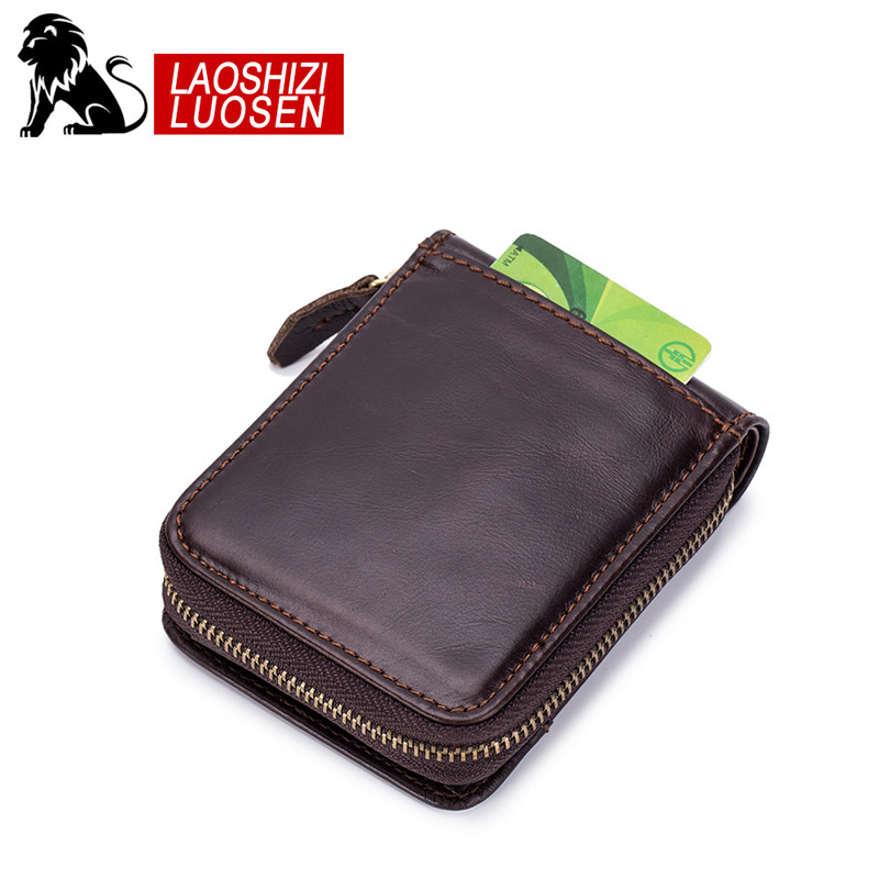 Купить с кэшбэком LAOSHIZI LUOSEN Genuine Leather Men Wallets Short Coin Purse Small Retro Wallet Cowhide Leather Card Holder Pocket Purse
