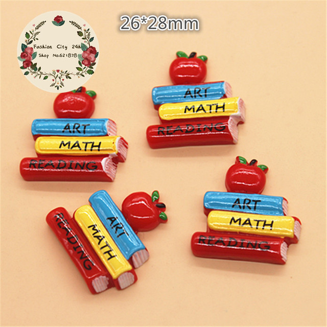 10pcs Cute Books Art & Math & Reading with Apple Back to School Students Cabochon Flatbacks Crafts for DIY scrapbooking,26*28mm