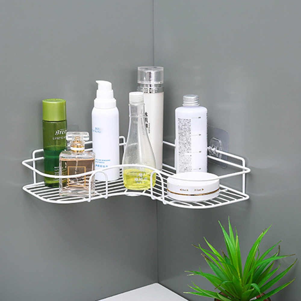 Punch Free Corner Bathroom Shelf Bathroom Fixtures Wrought Iron Storage Rack Kitchen Tripod Wall Shelf  Hair Dryer Holder