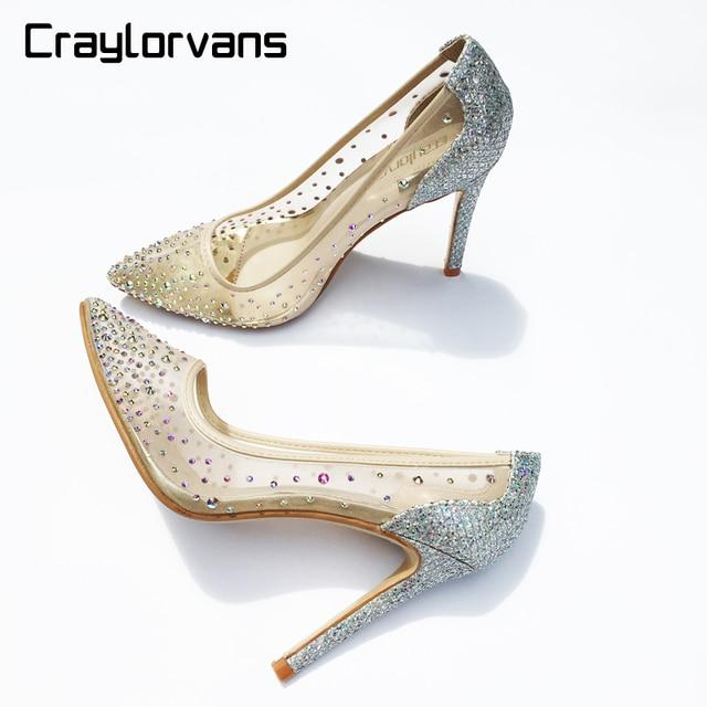 37e1007ce Craylorvans See Through Silver Bling Fashion Design Women s High Heel Pumps  Summer Rhinestones Party Wedding Stiletto Thin Heels