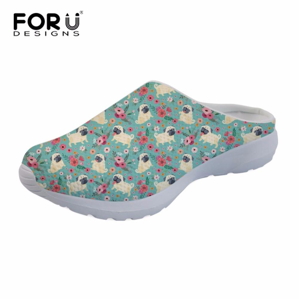 503e9edb3a2 FORUDESIGNS Fashion Women s Mesh Sandals Animal Pug Dog Flower Printed  Summer Beach Water Slippes Female Breathable