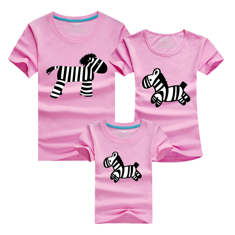 1 Piece Family Look Animals Zebra T Shirts 2018 Summer 11 Colors Family Matching Clothes Father Mother Kids Outfits Cotton Tees