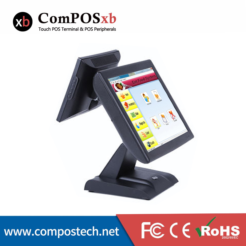 Hight Speed Core Processor Cash Register For Sale All In One Epos System 15 inch <font><b>i5</b></font> Dual Screen Pos Point Of Sale For Retail image