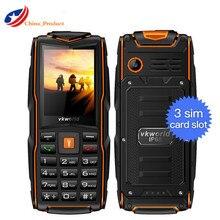 Подарок! Vkworld камень новый V3 IP68 Водонепроницаемый мобильный телефон длительным временем ожидания 2.4 «Три sim-карты 3000 мАч большой Батарея 2MP Старший открытый