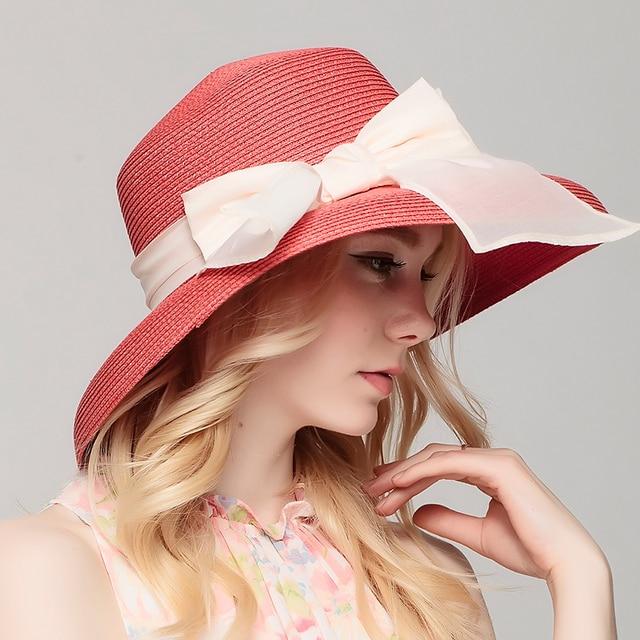 2016 Элегантный Широкими Полями Вс Hat для Женщин Летом Пляж Шляпа с Цветочное Оформление Дамы Шляпы Сложенном Широкими Полями Вс Cap B-2330