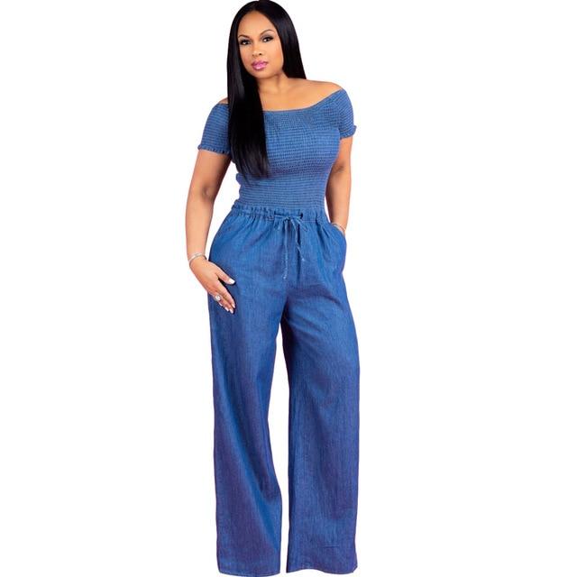 b60b646efae3 Echoine 2018 Autumn Short Sleeves Denim Jumpsuit Sexy Women Slash Neck Bodysuit  Casual Blue Jeans Jumpsuits Female Slim Overalls
