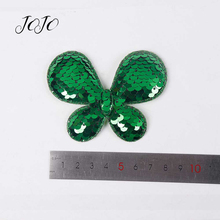 JOJO BOWS 10pcs Reversible Sequin Patches Solid Animal Plant Pattern Accessories For Needlework Apparel Sewing Patch DIY Hairbow