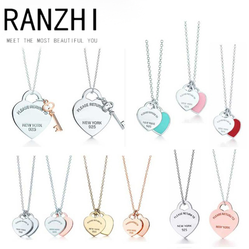 RANZHI SWA Fashion Personality Popular 925 Sterling Silver Genuine Love Heart Series Necklace Charm Woman Jewels DIY Gift