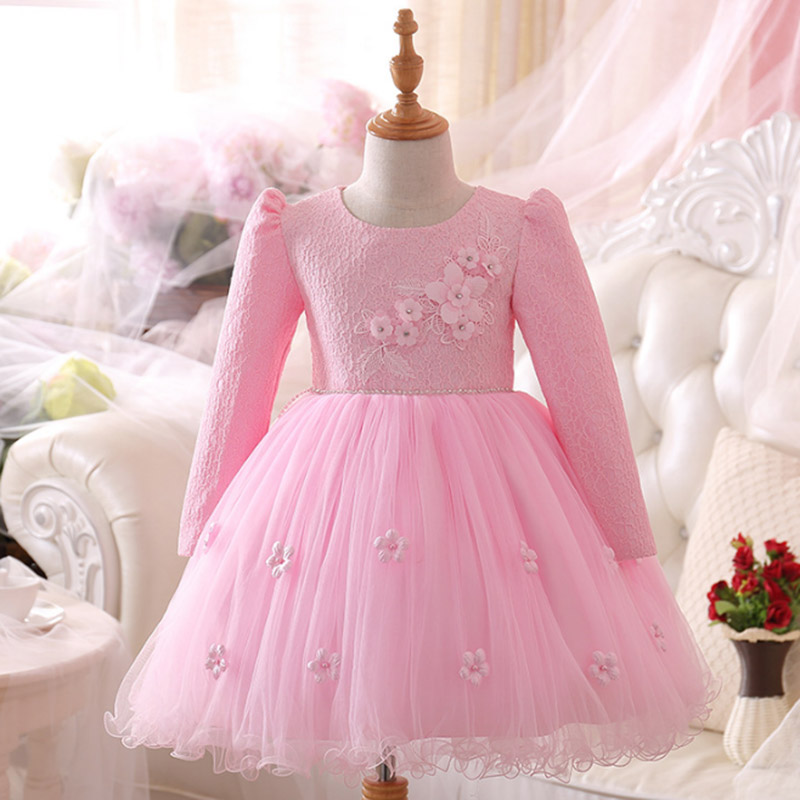 New Year's dress kids long sleeve girl costume snow white red pink party dresses for girls children's clothes 3 6 8 10 11 years winter 2016 long sleeve kids dresses for girls puff sleeve lace princess dress white pink 3 8 years old