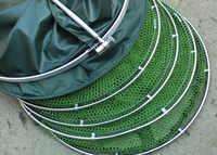 Anéis de aço inoxidável duplo 5 camadas dobrável rede de cuidados com os peixes dobrável camarão minnow armadilha de pesca dip net gaiola 50kg carga a199