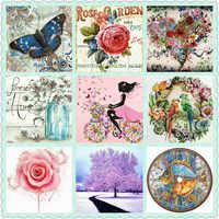 Nowy gorący 21 styl dziewczyna kwiat 5d obraz diamentowy DIY cartoon krajobraz pełna plac 3d diament haft handmade mozaika prezent