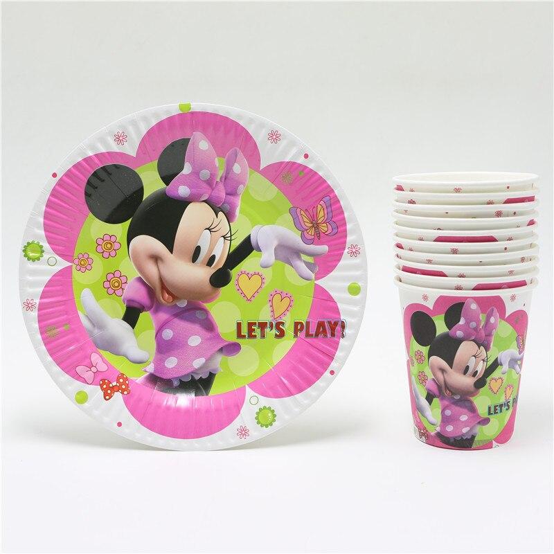 20pcs minnie mouse cartoon kids girls birthday party set disposable decorations paper plates paper cups - Decorative Paper Plates