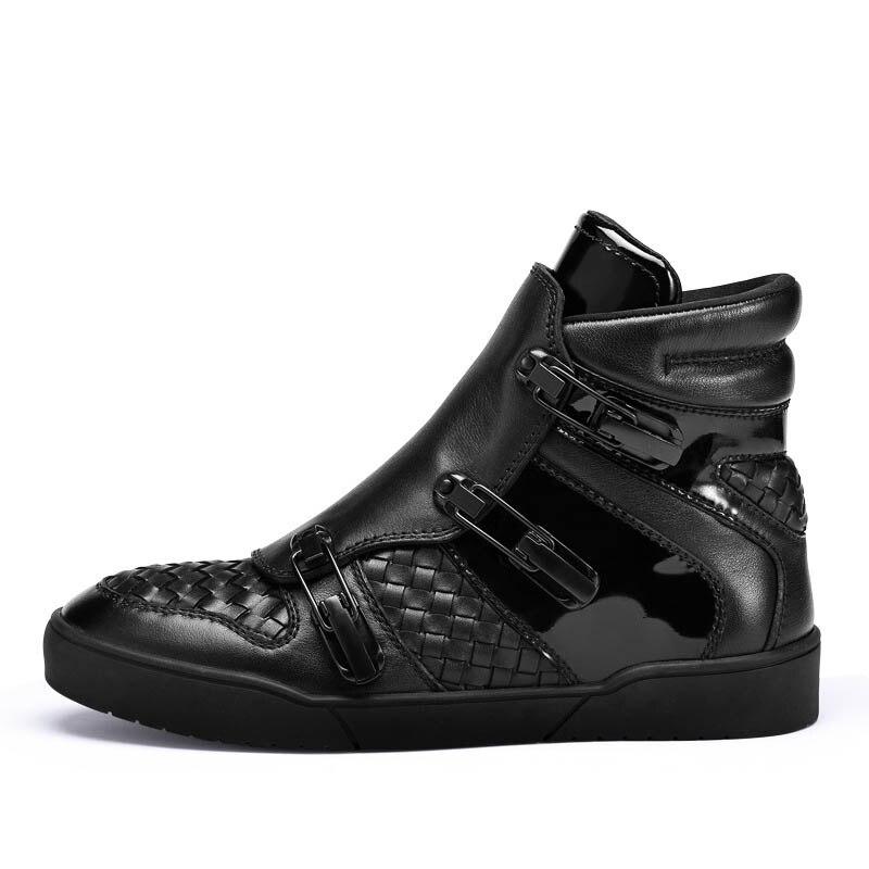 Altura De Cremallera La Estilo Ocultos Transpirable Zapatos Hebilla Cuero Black Hombres Casuales Vaca Masculinos Inglaterra Genuino Punk Correa Invierno Nuevo Moda TgxwAIxq