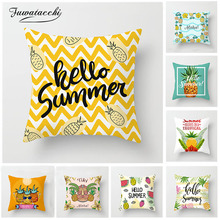 Fuwatacchi Tropical Fruit Cushion Cover Pineapple Words Printed Pillow For Home Sofa Decoration Pillowcases 45*45 cm