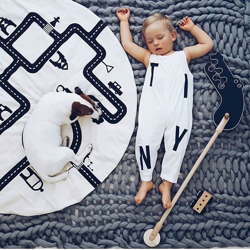 Baby Crawling Rug Mat Blanket Road Racing Games Adventure Play Mats Cotton Carpet Children Room Decoration Photography Props