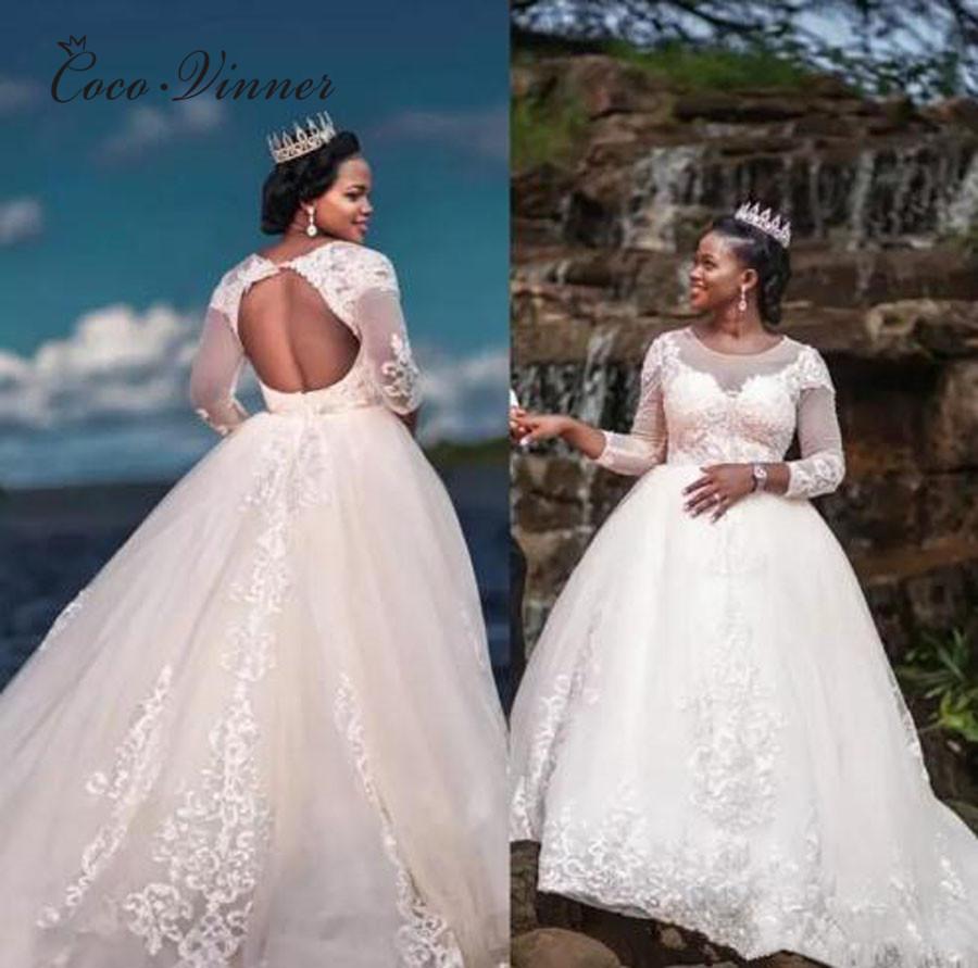 Backless Long Sleeve White Ball Gown Wedding Dress Africa Style Court Train Embroidery Appliques Lace Wedding Dresses W0377