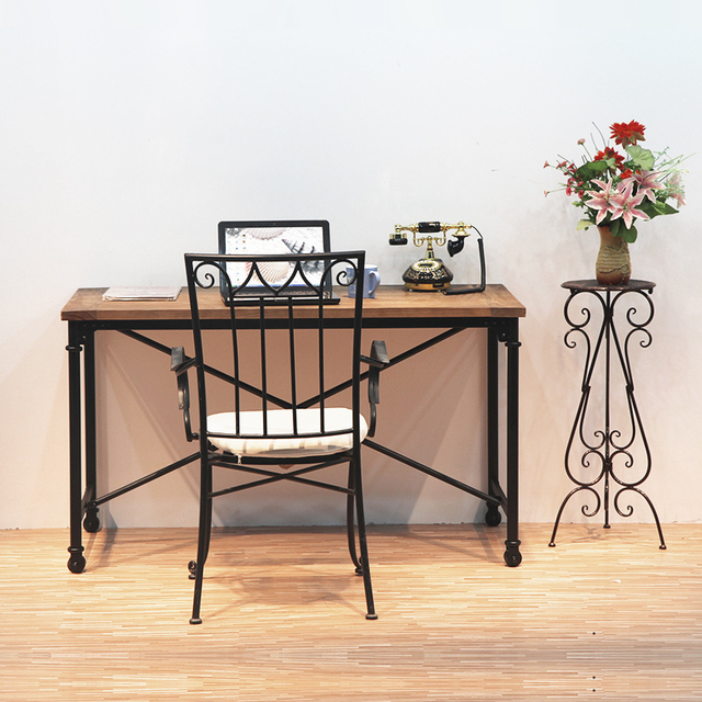 Charmant American Retro To Do The Old Wrought Iron Desk Antirust Mobile Computer Desk  Table Wood Dining