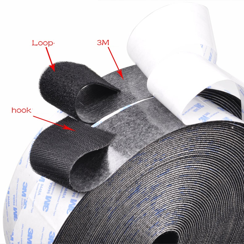 [4Y4A] 25m/lot Double-sided Plastic Wall Strong Magic Paste Tape Bundled With Wire Feeder Hook Loop