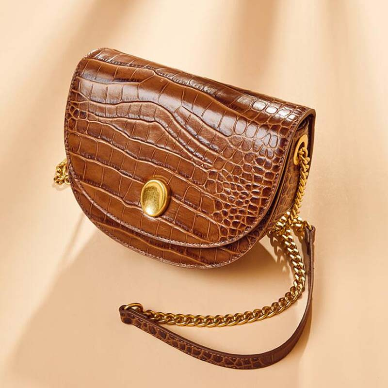 Fashion Shoulder Bags For Women Euro Style Genuine Leather Chain Bag Crocodile Pattern Leather Shoulder Messenger