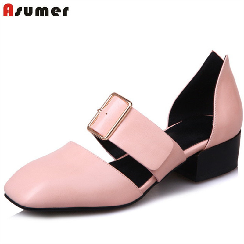 Asumer Med heels shoes square toe buckle PU soft leather fashion shoes spring autumn single party shoes women pumps xexy small square toe medium heels natural leather women shoe spring autumn buckle strap dance party sweet platform women pumps